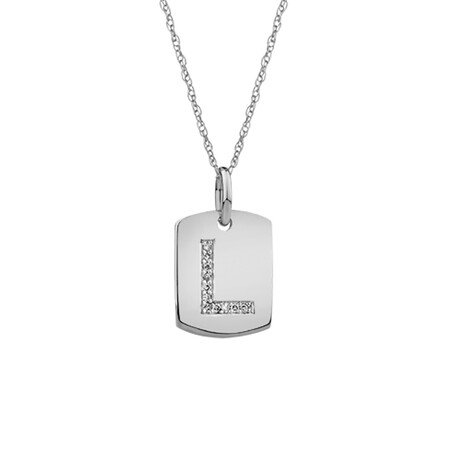 """L"" Initial Rectangular Pendant With Diamonds In 10ct White Gold"