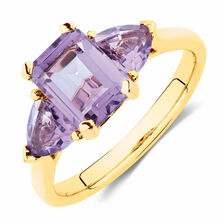 Ring with Natural Amethyst in 10ct Yellow Gold