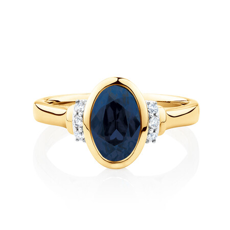 Ring with Created Blue Sapphire & Diamonds in 10ct Yellow Gold