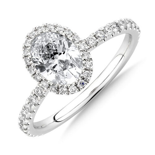 Sir Michael Hill Designer Halo Oval Engagement Ring with 1.35 Carat TW of Diamonds in 18ct White Gold