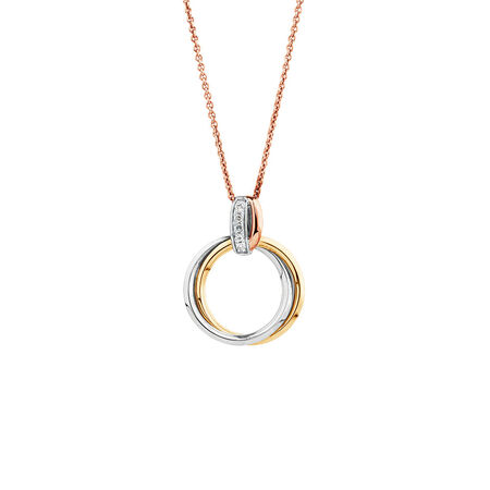 Tri-tone Circle Pendant with Diamonds in 10ct White, Yellow, and Rose Gold