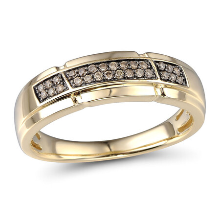 Ring with 0.16 Carat TW of Enhanced Brown Diamonds in 10ct Yellow Gold