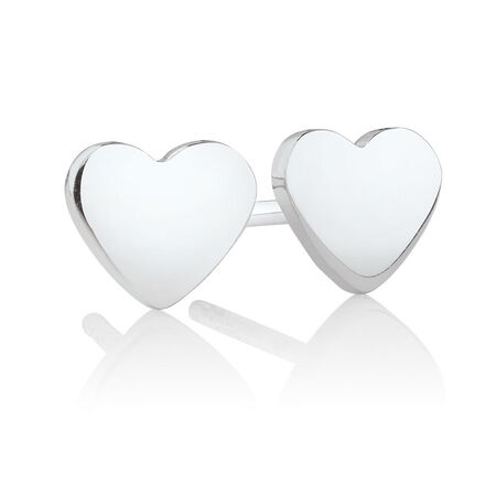 Heart Stud Earrings in Sterling Silver