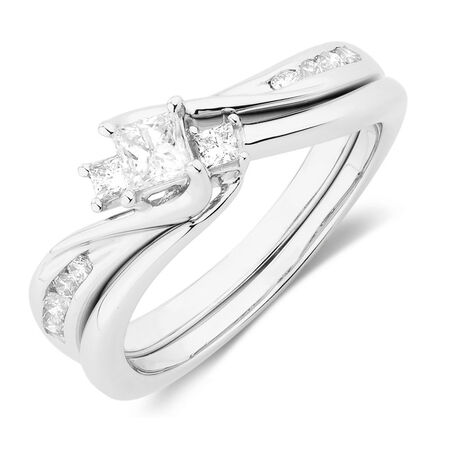 Online Exclusive - Bridal Set with 1/2 Carat TW of Diamonds in 10ct White Gold