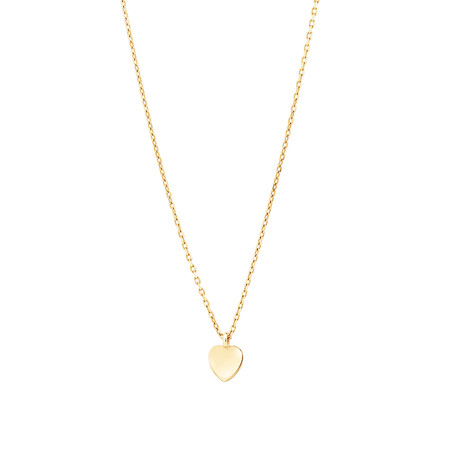 Minimal Heart Disc Necklace In 10ct Yellow Gold