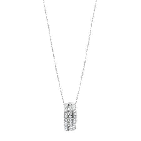 Three Row Pendant with 0.34 Carat TW of Diamonds in 10ct White Gold