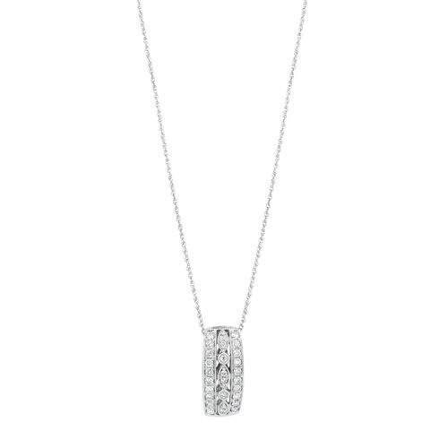 Three Row Pendant with 0.34 Carat TW of Diamonds in 10ct White Gold