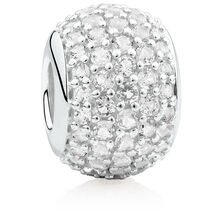 Pave Set Charm with Cubic Zirconia in Sterling Silver