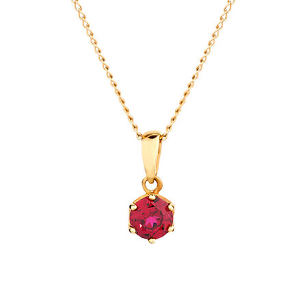 Pendant with Created Ruby 10ct Yellow Gold