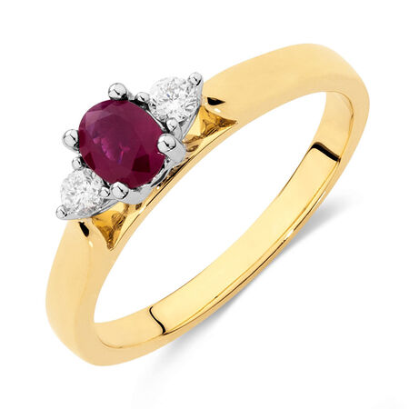 Ring with Ruby & Diamonds in 10ct Yellow & White Gold