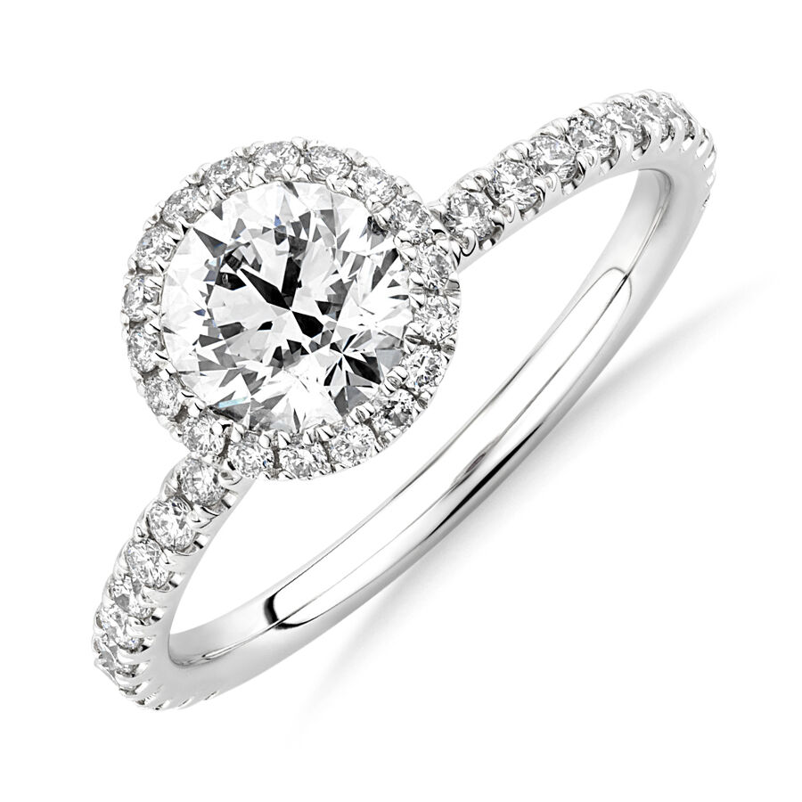 Sir Michael Hill Designer Halo Engagement Ring with 1.36 Carat TW of Diamonds in 18ct White Gold