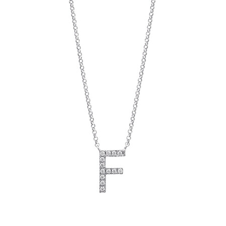 """F"" Initial necklace with 0.10 Carat TW of Diamonds in 10ct White Gold"
