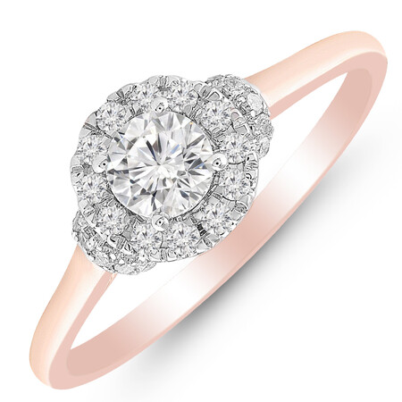 Ring with 0.60 Carat TW of Diamonds in 10ct Rose & White Gold