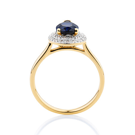 Ring with Created Blue Sapphire & Diamonds in 10ct Yellow Gold & Rhodium