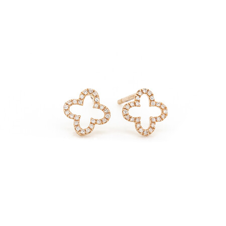 4 Leaf Clover Stud Earrings With Diamonds In 10ct Rose Gold