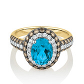 Ring with 0.95 Carat TW White & Brown Diamonds & Blue Topaz in 14ct Yellow Gold