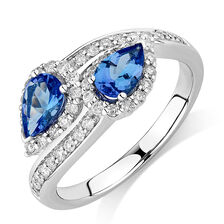 By My Side Ring with 0.16 Carat TW of Diamonds & Tanzanite in 10ct White Gold