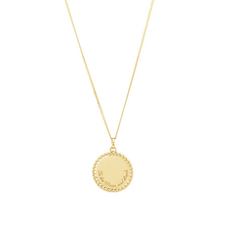 Disc Engraved Pendant in 10ct Yellow Gold