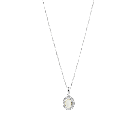 Halo Pendant with Mother of Pearl & Diamonds in Sterling Silver