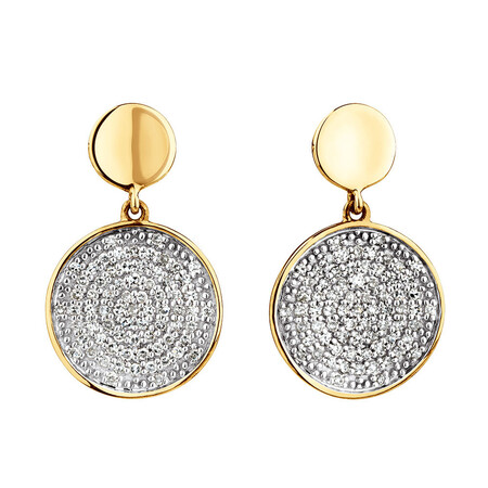 Round Stud Earrings With 1/4 Carat TW Of Diamonds In 10ct Yellow Gold