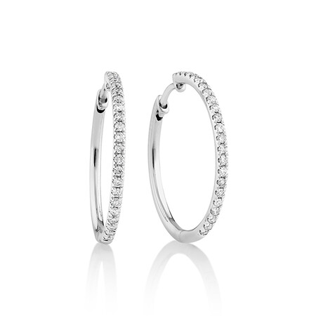 Pave Hoop Earrings with 0.35 Carat TW Diamonds in 10ct White Gold