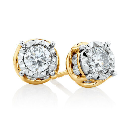 Solitaire Stud Earrings with 1 Carat TW of Diamonds in 14ct Yellow & White Gold