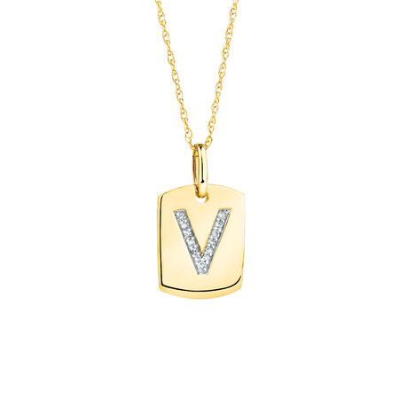 """V"" Initial Rectangular Pendant With Diamonds In 10ct Yellow Gold"