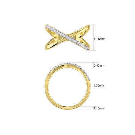 Geometric Ring with Diamonds in 10ct Yellow Gold