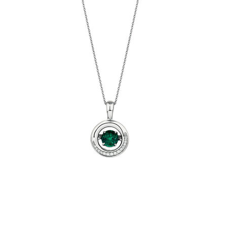 Online Exclusive - Everlight Pendant with Created Emerald & Diamonds in Sterling Silver