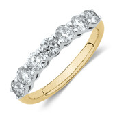 Evermore 7 Stone Wedding Band with 1 Carat TW of Diamonds in 14ctYellow & WhiteGold
