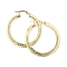 Online Exclusive - 31mm Patterned Hoop Earrings in 10ct Yellow Gold
