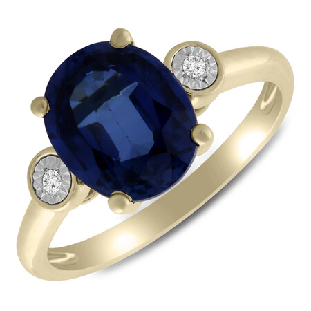 Ring with Created Sapphire & Diamond in 10ct Yellow Gold