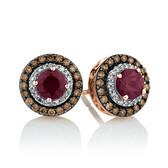 Stud Earrings with 0.50 Carat TW of Brown & White Diamonds & Rhodolite Garnet in 14ct Rose Gold