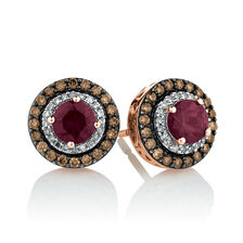 Stud Earrings with 0.50 Carat TW of Brown & White Diamonds & Rhodolite Garnet in 14ct Rose Gold