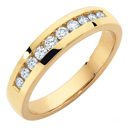 Wedding Band with 1/2 Carat TW of Diamonds in 10ct Yellow Gold