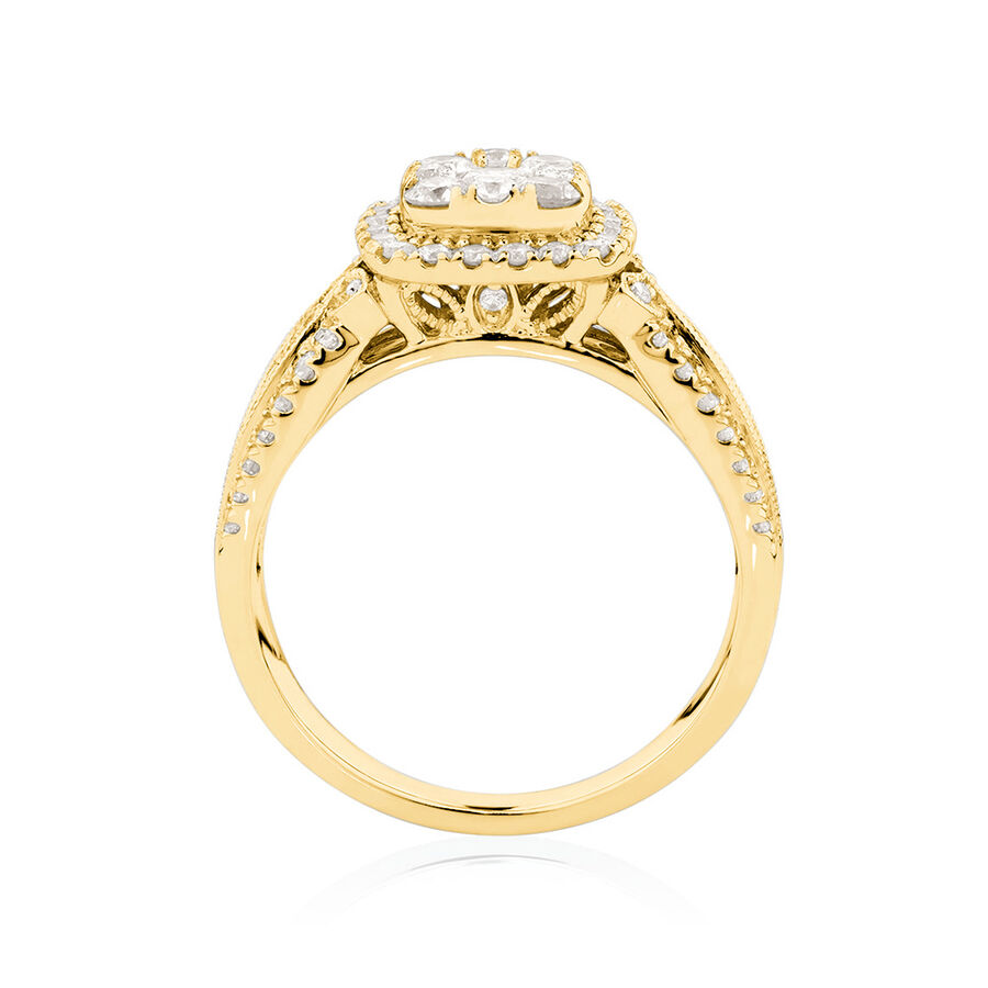 Cluster Halo Ring with 1 Carat TW of Diamonds in 10ct Yellow Gold
