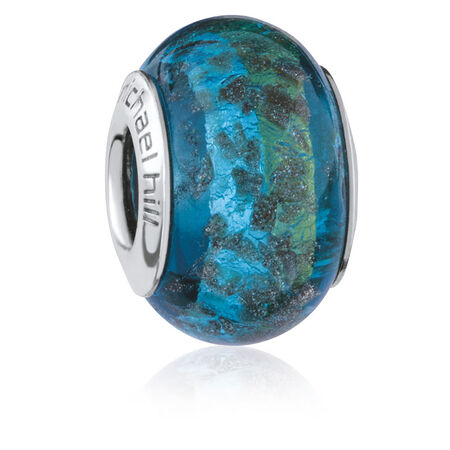 Blue & Green Sparkle Murano Glass Charm