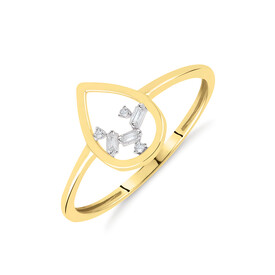 Pear Ring With Diamonds In 10ct Yellow Gold