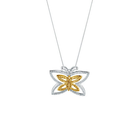 Online Exclusive - Pendant with 0.40 Carat TW of Enhanced Yellow Diamonds in Sterling Silver