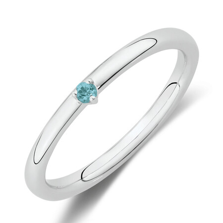 Stacker Ring with Blue Topaz in Sterling Silver
