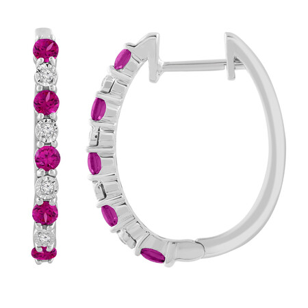 Huggie Earrings with Created Ruby & Diamond in Sterling Silver
