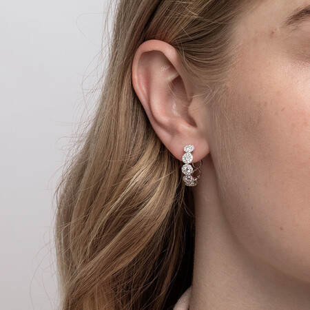 Bubble Hoop Earrings with 1.3 Carat TW of Diamonds in 14ct White Gold