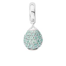 Aqua Cubic Zirconia & Sterling Silver Wild Hearts Dangle Charm