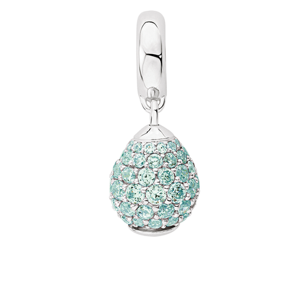 Aqua Cubic Zirconia & Sterling Silver Wild Hearts Dangle Charm
