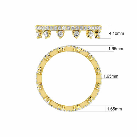 Zipper Ring with 0.75 Carat TW of Diamonds in 10ct Yellow Gold