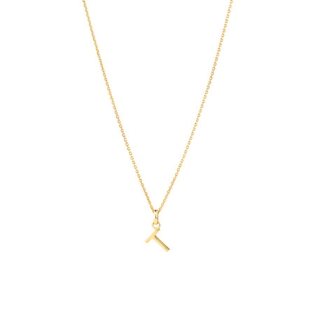 """""""T"""" Initial Pendant with Chain in 10ct Yellow Gold"""
