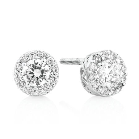 Halo Stud Earrings with White Cubic Zirconia in Sterling Silver
