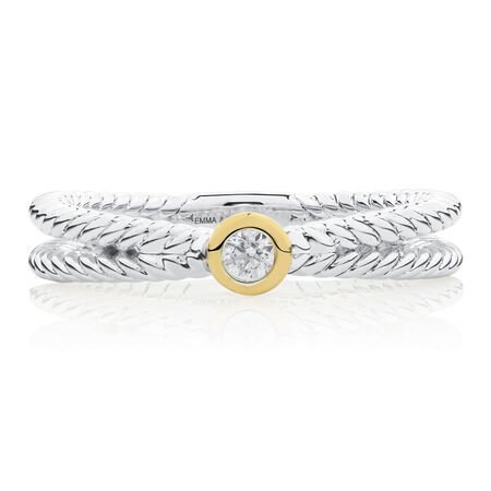 Crossover Stacker Ring with Cubic Zirconia in Sterling Silver & 10ct Yellow Gold