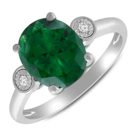 Twist Ring with Created Emerald & Diamond in 10ct Yellow Gold