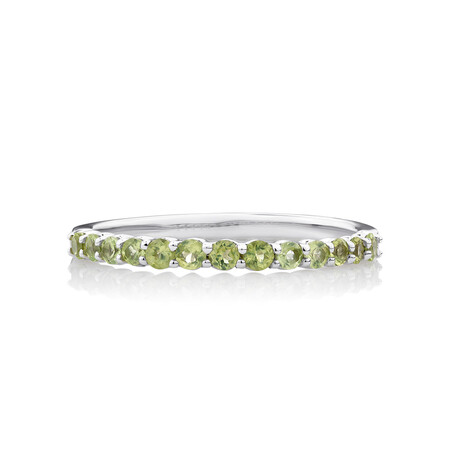 Stacker Ring with Peridot in Sterling Silver